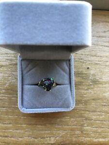 10KT Solid Yellow Gold Mystic Topaz Ring