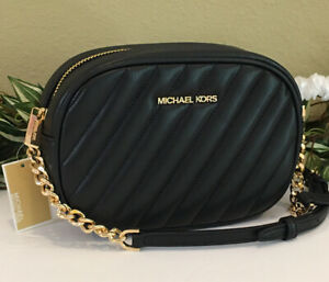 MICHAEL KORS ROSE SMALL OVAL CHAIN CROSSBODY BLACK QUILTED VEGAN LEATHER GOLD