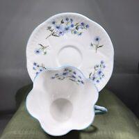Shelley Bone China Teacup And Saucer Blue Rock Blue Flowers 13591 England Dainty
