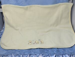 Vintage Ducklings snail yellow fleece Baby Blanket Gingham edge Koala 1995
