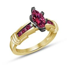 1.30Ct Marquise Pink Sapphire Cut Solitaire With Accents Ring 18K Yellow Gold Fn