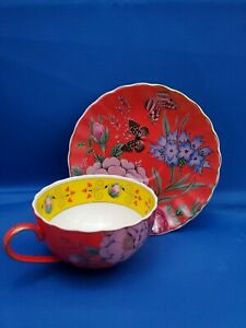 T2 Bone China Cup & Saucer Set Red Floral Gold Rim Unused Butterfly