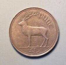 1990 Ireland Punt Pound Copper Nickel World Coin Irish Harp Red Deer Eire