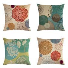 Geometric Flower Cotton Linen Throw Pillow Case Cushion Cover For Home Decor