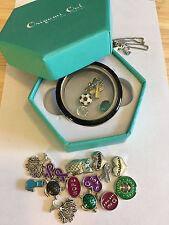 Genuine ORIGAMI OWL Black Rim Living Locket, Chain, Box, 20 charms/crystals