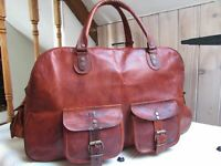 Leather Genuine Travel Bag Duffle Gym Men Vintage Luggage Overnight Weekend 16""