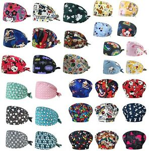 Surgical Scrub Cap Cotton Buckle Doctor Dental Clinic Anime  Marvel Mickey Print