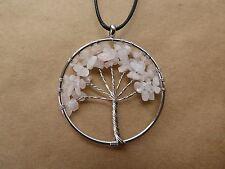 Empowering Jewelry Necklace Pendant Rose Quartz Tree of Life Boho Indie Urban