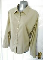 ❤ ROHAN Size 18 Liaison L/S Shirt Button Up Beige Blouse Top Zip Pocket Stretchy