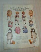 PUNCH and JUDY, THE TWINS  paper dolls Womans magazine page 1929 Ephemera