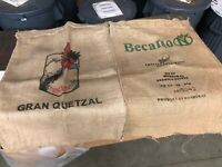 "Lot of 2 Burlap Coffee Bean Bags Sacks Size 37"" x 27"""