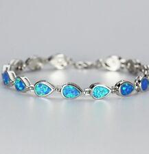 Lovely 925 Sterling Silver Tear Drop Blue Fire Opal Tennis Bracelet 18cm