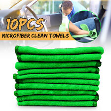 US 10Pcs Green Microfibre Clean Auto Car Detailing Soft Cloths Wash Towel Duster