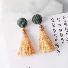 Statement Apricot & Green Fringed Tassel Velvet a Stripe round drop Earrings