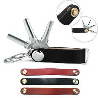 Compact Key Chain Ring Strap Expandable Leather Holder Organizer Belt Loop New W
