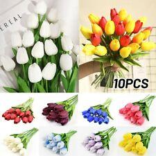 Artificial Plástico Exterior Plantas Lirio Flores de Tulipán Falso Césped Jardín