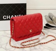 Chanel Red Leather Flap Woc Silver Chain Wallet on Chain Cross Body Bag