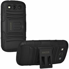 Amzer Hybrid Kickstand Case Cover for Samsung Galaxy SIII S3 GT-I9300 Black
