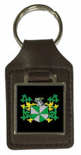 Lampet Family Crest Surname Coat Of Arms Brown Leather Keyring Engraved
