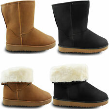 New Womens Ladies Snugg Casual Flat Fur Lined Calf Winter Snow Ankle Boots