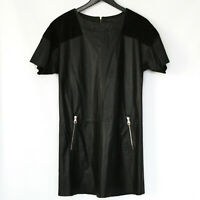 LOUIS VUITTON $3500 black leather and suede gold logo zipper mini shift dress 36