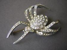 """Halloween Metall Strass Brosche """"Spinne"""" (3 Steine fehlen)  14,6 g/5,9 x 3,9 cm"""