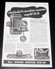 1937 OLD MAGAZINE PRINT AD, KODAK SPECIAL SIX, WHAT A MODERN CAMERA SHOULD BE!