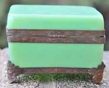 Ant- Jade Peking Glass Trinket Box With Ornate Metal  Carvings around Box