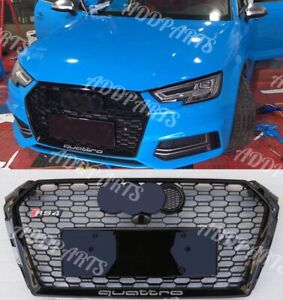 For 2017-2018 Audi A4/S4 B9 RS4 Grille Mesh Quattro Gloss Black Honeycomb