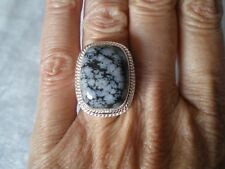 Snowflake Obsidian ring, size L/M, 16.19 carats, 8.77 grams 925 Sterling Silver