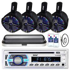 "Dual Marine 6.5"" LED Tower Speakers, Bluetooth Pyle USB AUX Radio,Cover, Antenna"