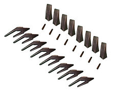 "Skid Steer Bucket Teeth with weld-on shanks and pins - Set of 8 - X156L 1"" Lip"