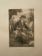 Gravure 19°  Portrait  personnage révolution : Charette
