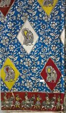 Cotton kalamkari block print fabric - 100 cms length by 43 inches Blue base