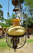 Antique Duplex England Brass Pull Down Counterweight Lamp - No Shade