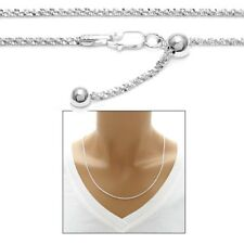 """925 Sterling Silver 24"""" Adjustable Butterfly Chain Necklace 2mm"""