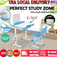 Children's Study Desk Chair Set Adjustable Kids Child Table With LED Lamp Blue