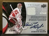 2008-09 Upper Deck Trilogy Scripted Swatches 28/100 Auto DOMINIK HASEK Red Wings