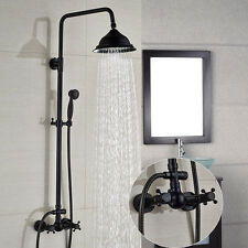 "Oil Rubbed Bronze Bath 8""Rain Shower Faucet Dual Handles Mixer Tap W/Hand Shower"