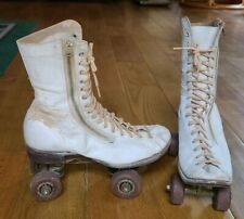 Vintage Richardson Roller Skates, Zipper & Tie, White Leather
