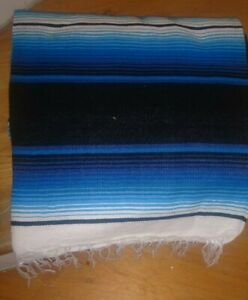 Mexican serape blanket blue and black  white Striped and black fringe XL 84 x 64