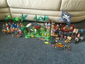 Playmobil Vintage Bundle - 50 Figures - Animals - Pirates - Boat - Job Lot