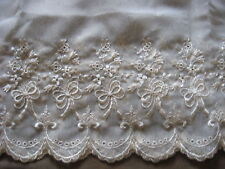 4 3/4 YDS SCALLOP NATURAL BOW RAYON EMBRDROIDERED ON NYLON ORGANZA LACE.
