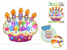 Balloon Blasts BIRTHDAY CAKE with candles wall sticker 1 big 3D pop-up decal