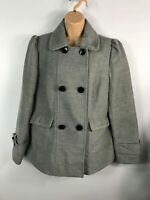 WOMENS DOROTHY PERKINS GREY DOUBLE BREASTED BUTTON WINTER OVERCOAT JACKET UK 16
