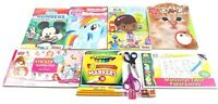 Lot of Coloring & Activity Books 10 Markers 2 Scissors 2 Pencils Etc. Preowned