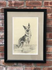 C1940's Original Signed Drawing Of German Shepherd Dog By Marguerite Kirmse