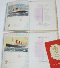Cunard Line RMS Queen Mary & Elizabeth Voyage Books Passenger List Autographs