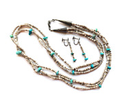 VTG Navajo triple strand brown heishi necklace + earrings, turquoise sterling