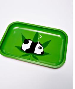 Smoking Stoned Panda with Leaf Design Medium Metal Rolling Tray